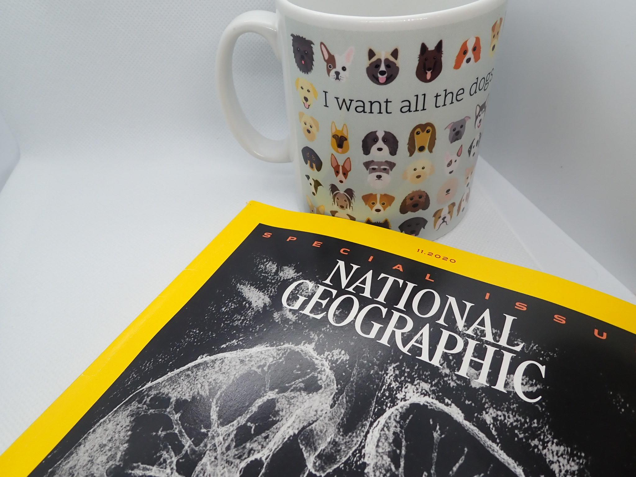 National Geographic next to mug